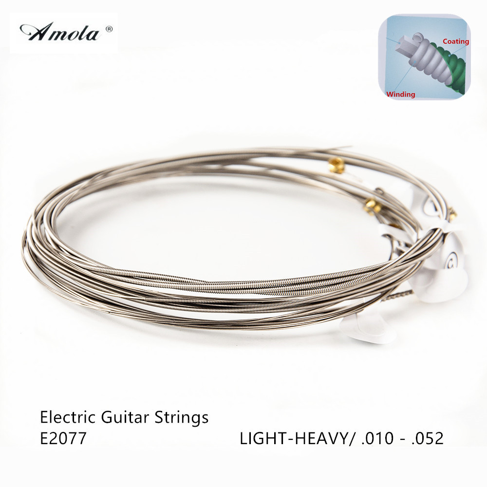 Amola E2077 Electric Guitar Strings Light Top Heavy Bottom with  Coating 010-052 Musical Instrument 5 Sets amola acoustic guitar strings set 010 012 011 pure copper steel 010 047 acoustic wound guitar 1 6th string musical instruments