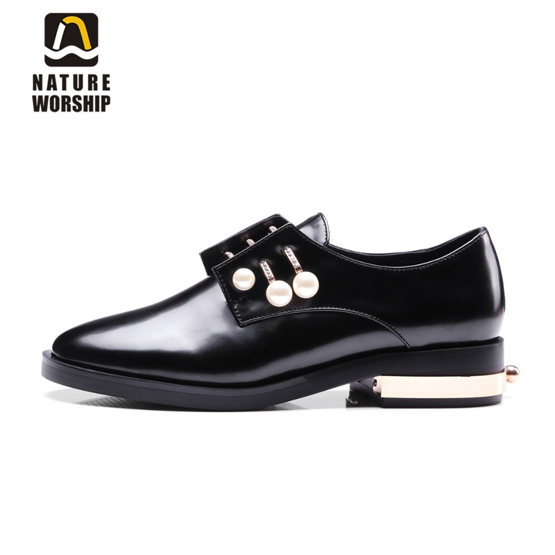 British style Flats women shoes fashion Crystal pearl Brogue Shoes Pointed Toe Patent leather Spring/Autumn Casual shoes woman fashion pointed toe women shoes solid patent pu brand shoes women flats summer style ballet princess shoes for casual crystal