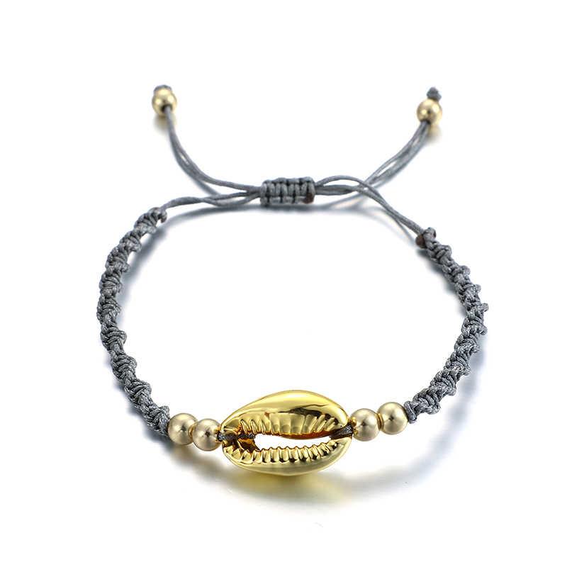 Docona nowa plaża czarny dziania liny powłoki regulowany łańcuszek na kostkę dla kobiet Boho niebieski brązowy bransoletka Foot boso biżuteria A01501