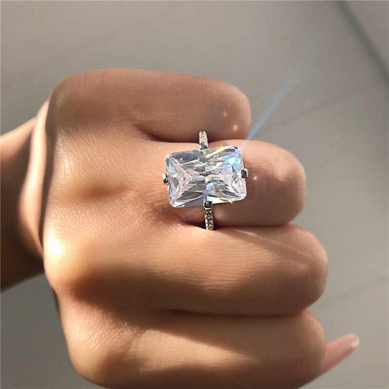 Luxury Promise ring 925 Sterling silver Princess cut 5ct AAAAA Zircon cz Wedding Band Rings for women Bridal Statement Jewelry