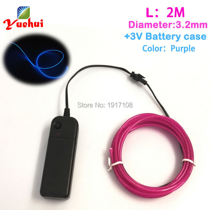 Newest 3.2mm 2Meter 10 Color Select can be bent into any shape EL cable rope Neon cold light Powered by 3A Party gift