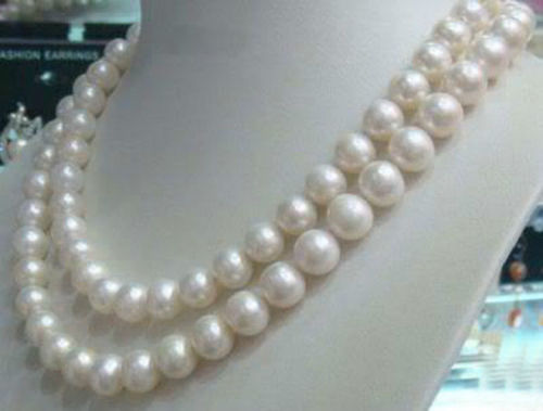 Hot selling free shipping*****8 9mm Genuine Natural White Akoya Cultured Pearl Jewelry Necklace 36''