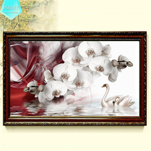 PSHINY 5D DIY Diamond embroidery Butterfly orchid picture full Square rhinestone Flowers painting cross stich