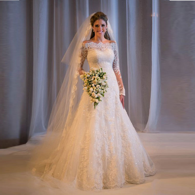 2016 Cheap Long Sleeve Lace Beaded A Line Wedding Dresses Made In ...