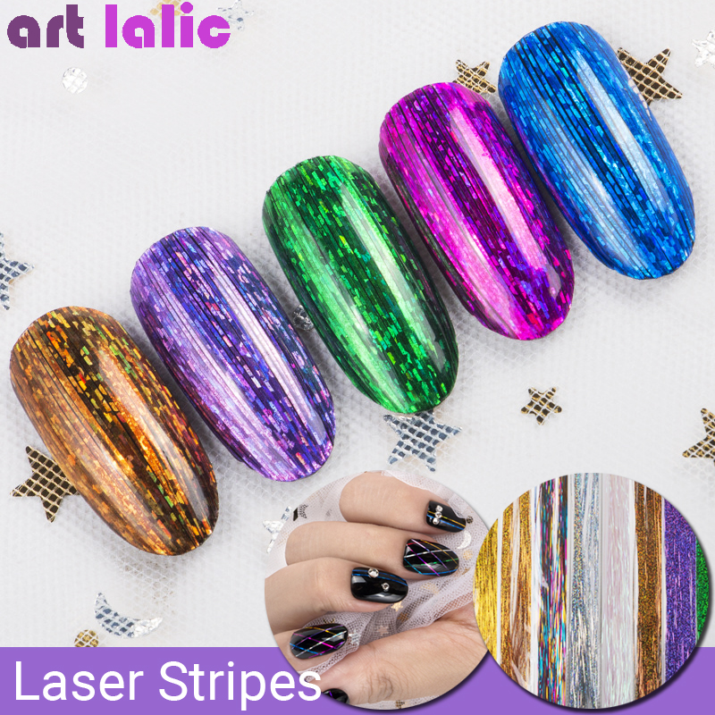 Lot Of Nail Art Stripes Laser Holographic Shiny Stripe Gradient Lines Decorations Silk Sequins UV Gel Polish DIY Wire Manicure