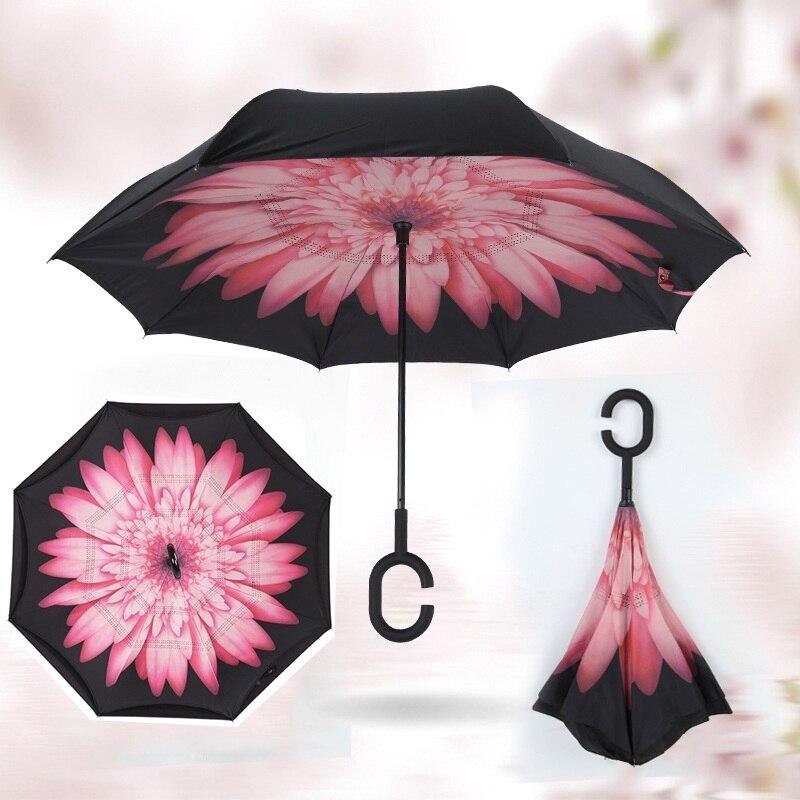 Обратный двойной Ветрозащитный Двойной Слои зонтик 2017 перевернутый Авто наизнанку защита от дождя с-крюк с Hands Free для автомобиля