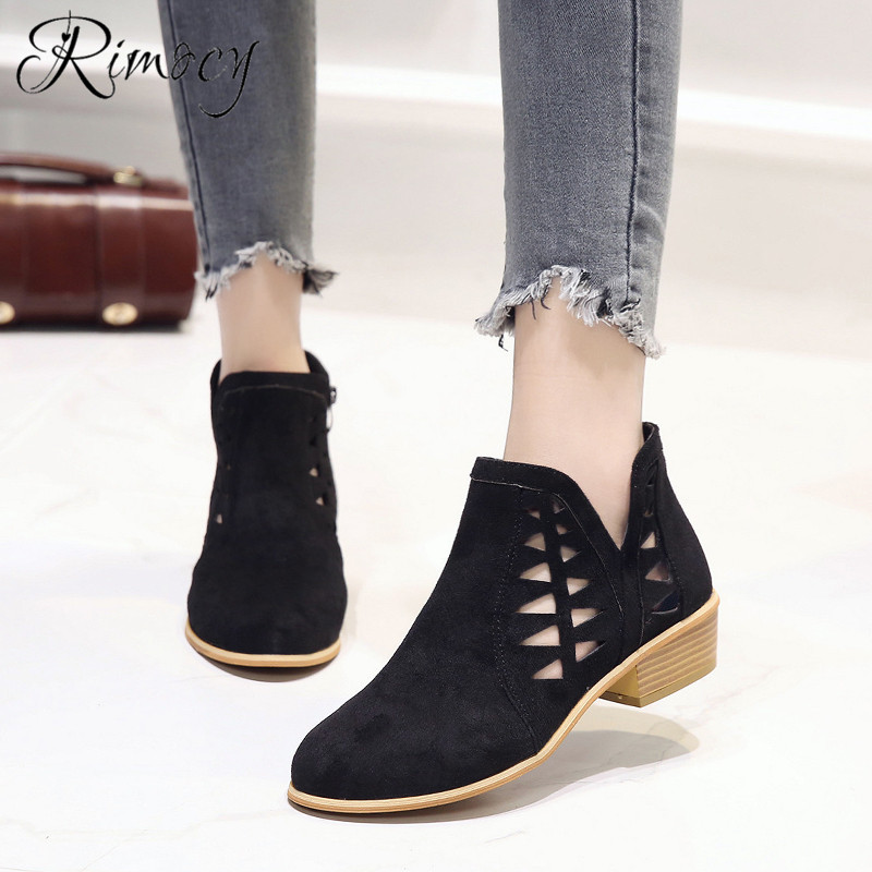 Rimocy 2019 spring hollow out single shoes woman faux suede round toe square heels pumps women 4cm med heels casual shoes femme 27