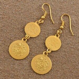 Image 5 - أقراط عملات معدنية عربية للنساء باللون الذهبي مجوهرات إسلام الشرق الأوسط للبيع بالجملة طراز #004306