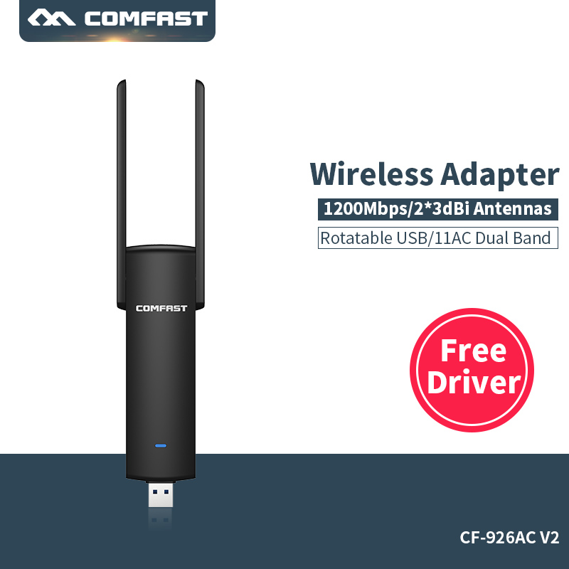 2.4G&5G Wireless Wi fi Adapter computer Network Card Dual Band Mini PC WiFi adapter 1200 mbps USB WiFi antenna COMFAST CF 926AC|Network Cards| |  - title=