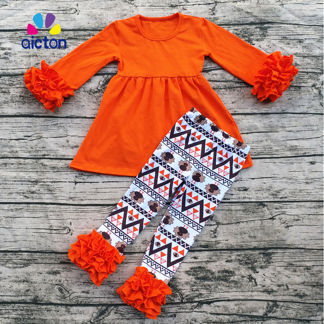 c76923482b043 Aicton ruffle baby clothes fall Winter Thanksgiving boutique baby clothes  turkey wholesale children clothes set