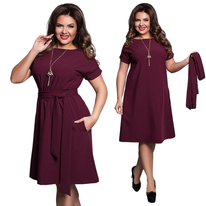Elegant Casual Women Dresses Big Size Plus Size Dresses Women\'s Summer  Sashes O-Neck Bodycon Chiffon Party Dress