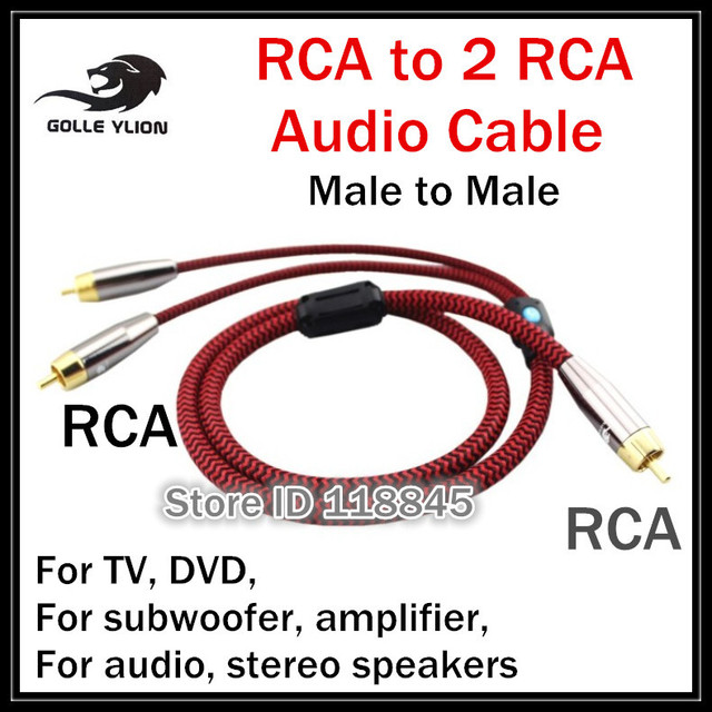 1m 2m 3m # RCA to 2 RCA Male Plug High Fidelity Audio cable For CD ...