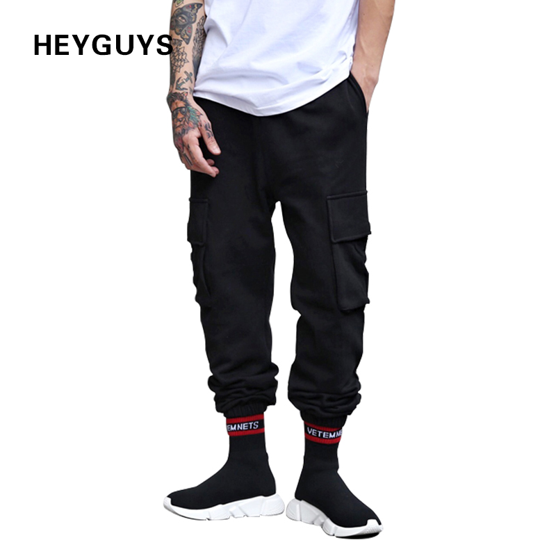 HEYGUYS New Fashion Fitness Pockets Long Pants Men Casual Sweatpants Pencil Jogger Trousers Fashion Fitted Streetwear Hiphop
