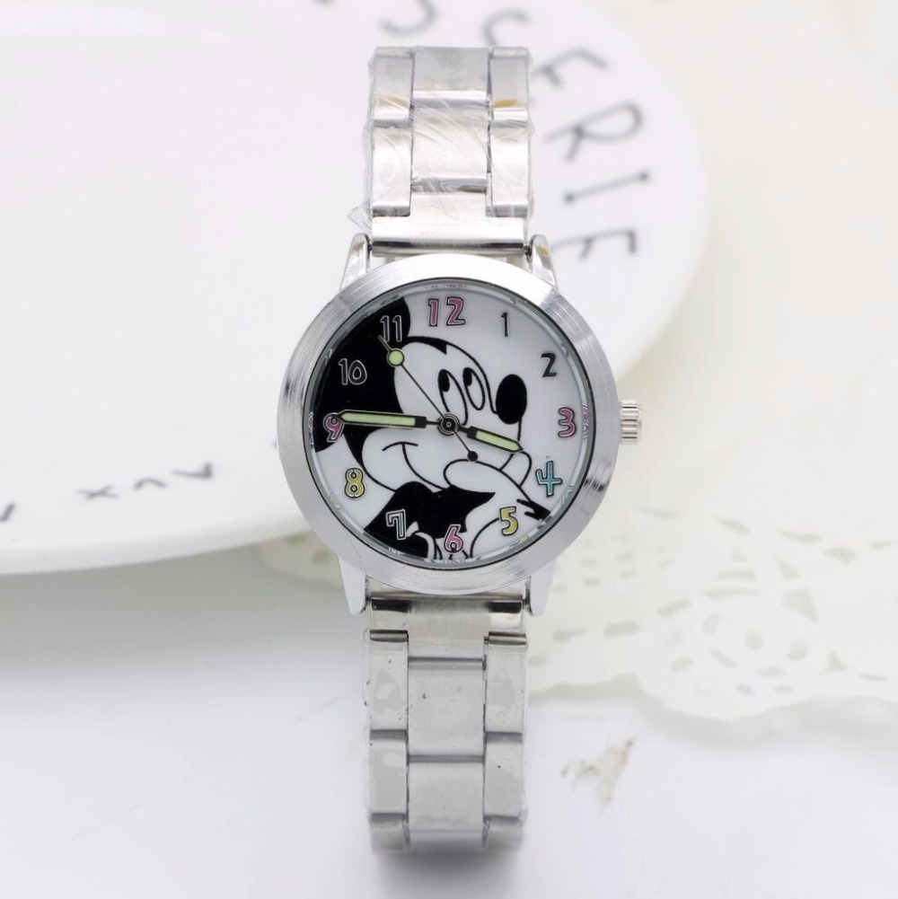 1PCS Cartoon Minnie Mickey Watch Girls Stainless Steel Watch Fashion Table Ladies Watch Men Women