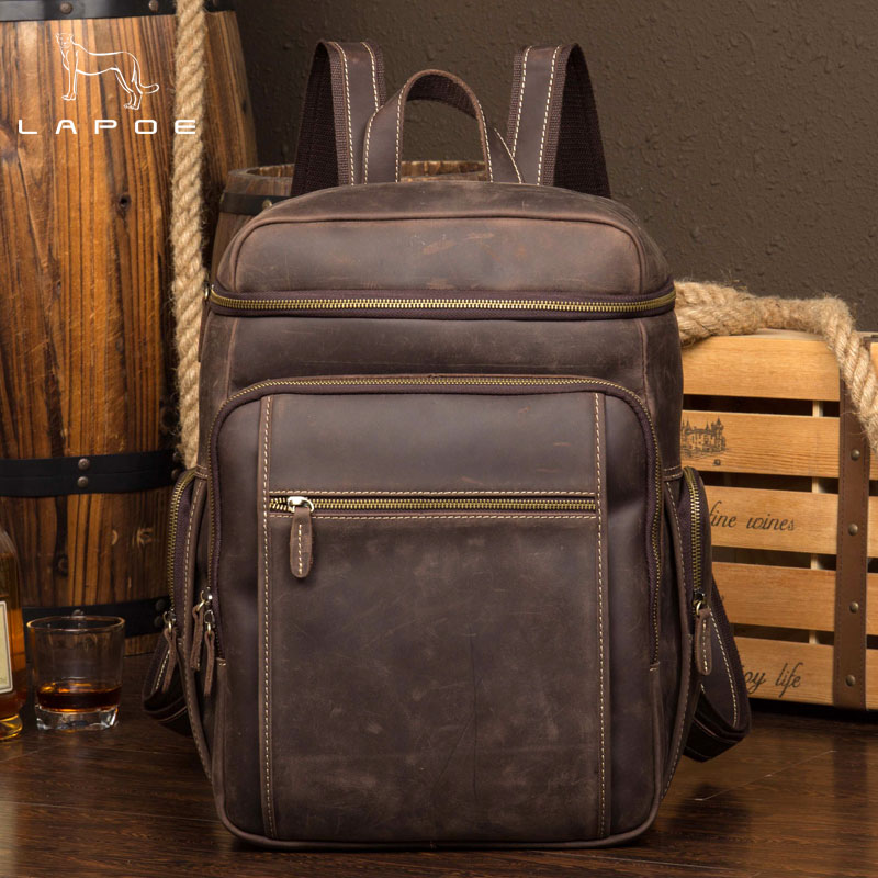 LAPOE Men Real Genuine Leather Vintage Travel Bag University School Book Bag Cowhide Design Male Backpack Daypack Student Bag men crazy horse real leather fashion travel bag university school book bag cowhide design male backpack daypack student bag male