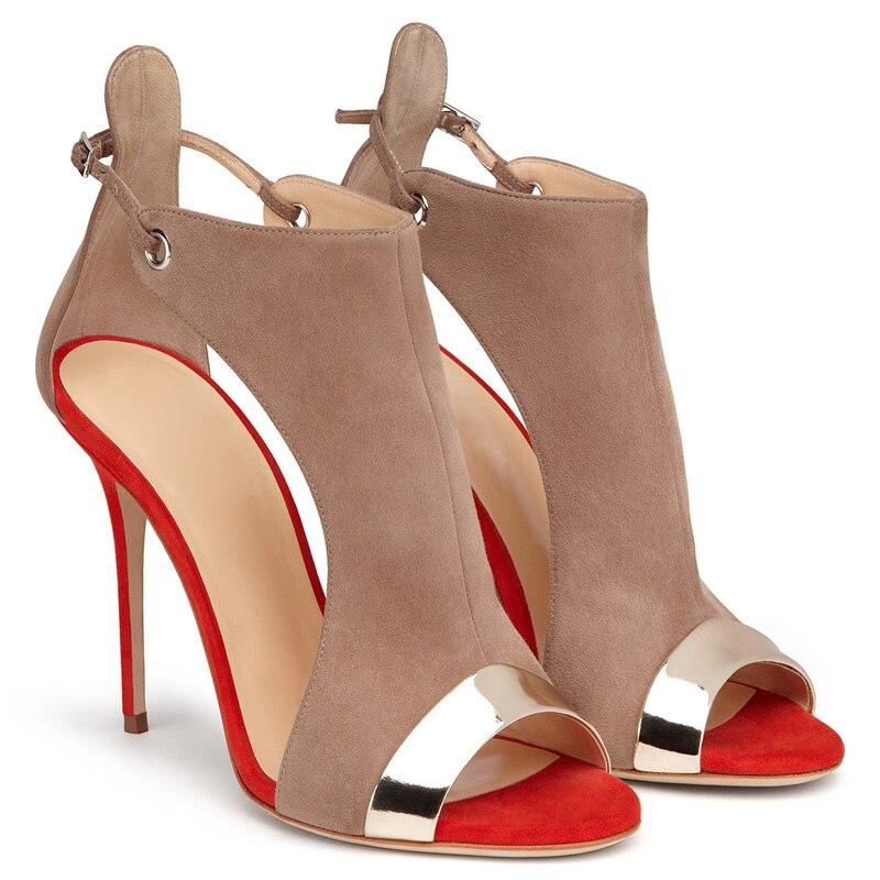 91aa37be1a86 red Couvert Coupe Out Patché Blue Ouvert Femmes Chaussures D été 34 Hauts  Cuir Deux En ...