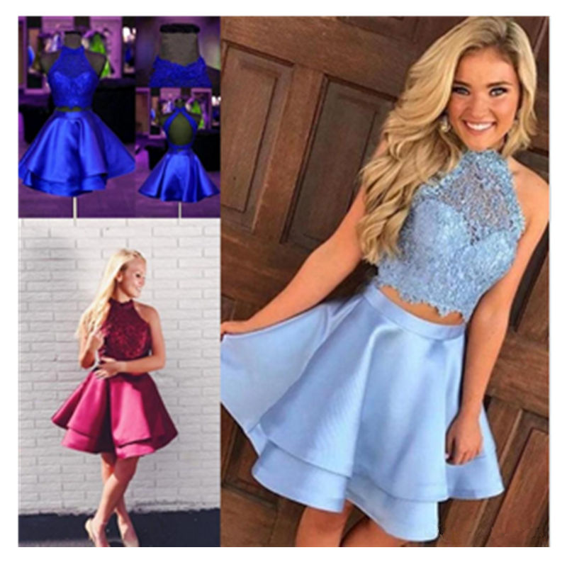 Royal Blue Halter Two Piece Homecoming Dresses Sleeveless Lace Satin Prom Gowns Backless Wine Red Short Formal Party Dresses