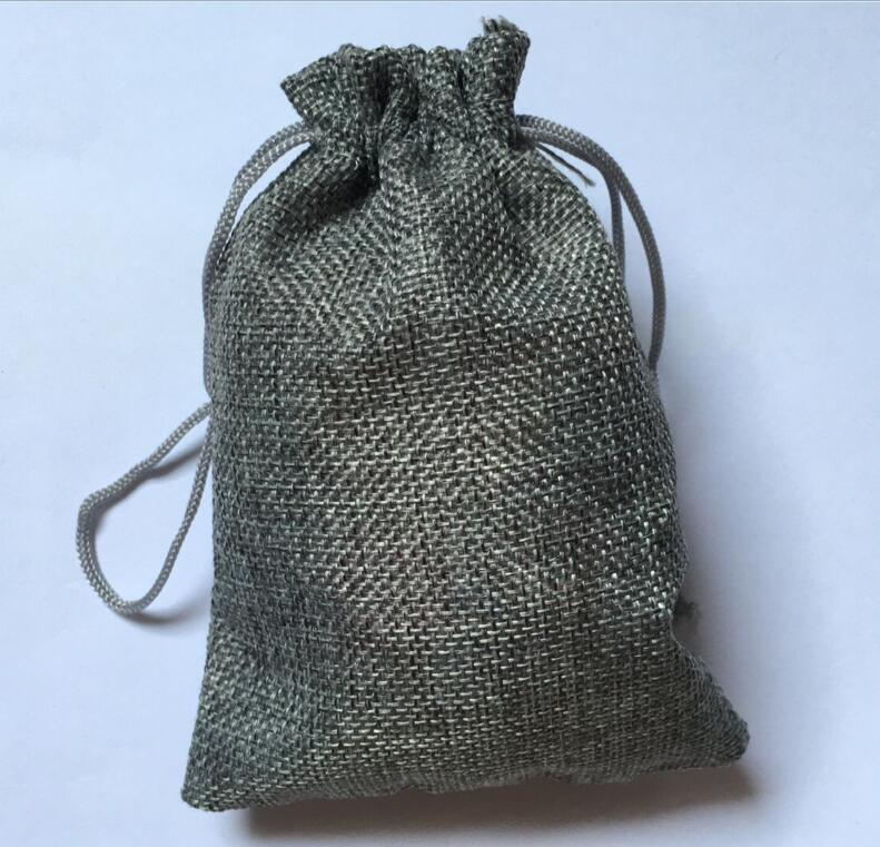 7x9cm Grey Burlap Bags Jewelry Pouch 50pcs Lot Small Fabric Drawstring Jute Gift For Favors Candy Rings Necklace Packaging In