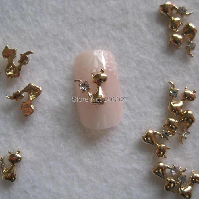 MD-675 10 pz Fancy Rhinestone Di Cristallo Oro Cat Deco Charms In Metallo Deco Metallo Charms Nail Art