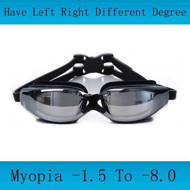 Adultes lunettes de natation Myopie Hommes silicone lunettes De Natation  optique anti-buée natation réglable a59b409eae67