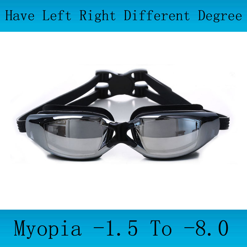 Adults Swimming goggles Myopia Men silicon Swimming glasses optical anti fog adjustable swim eyewear Professional water glasses