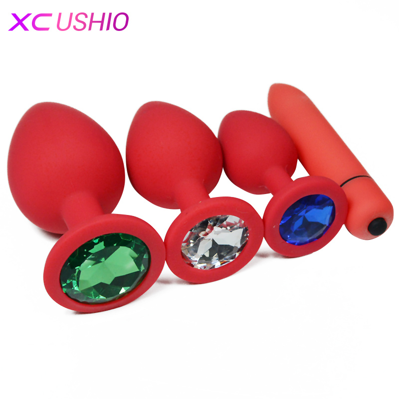 Red Silicone Anal Plug Jewelry Dildo Vibrator Sex Toys for Woman Prostate Massager Bullet Vibrador Butt Plug for Woman Men Gay