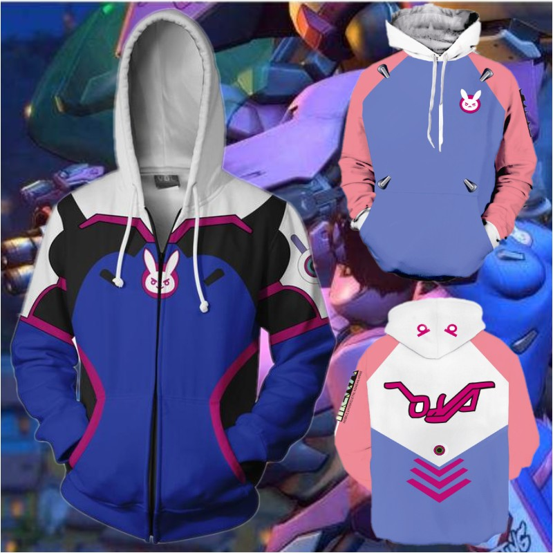 OW D.VA Dva Hoodie Cosplay Costumes Game 3D Sweatshirts Sweater Anime Cartoon Hooded dva for Men Women Coat Jackets Plus Size