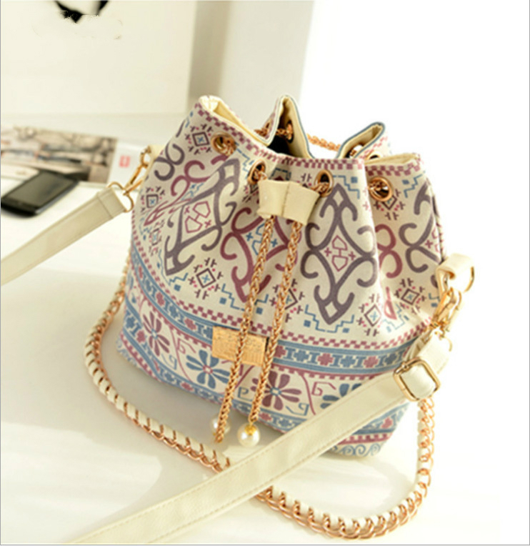 Korean Canvas Houndstooth Bucket Shoulder Bags National Style Totem Pearl Chain Messenger Crossbody Bag