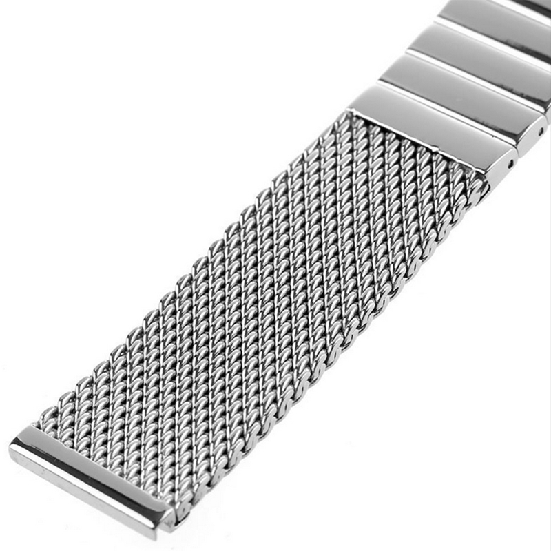 Image 3 - 18/20/22/24 mm Wristband Luxury Stainless Steel Strap Polished Silver Milanese Shark Mesh Milanese Band for Men Women Wristwatchmilanese bandshark meshstainless steel strap -