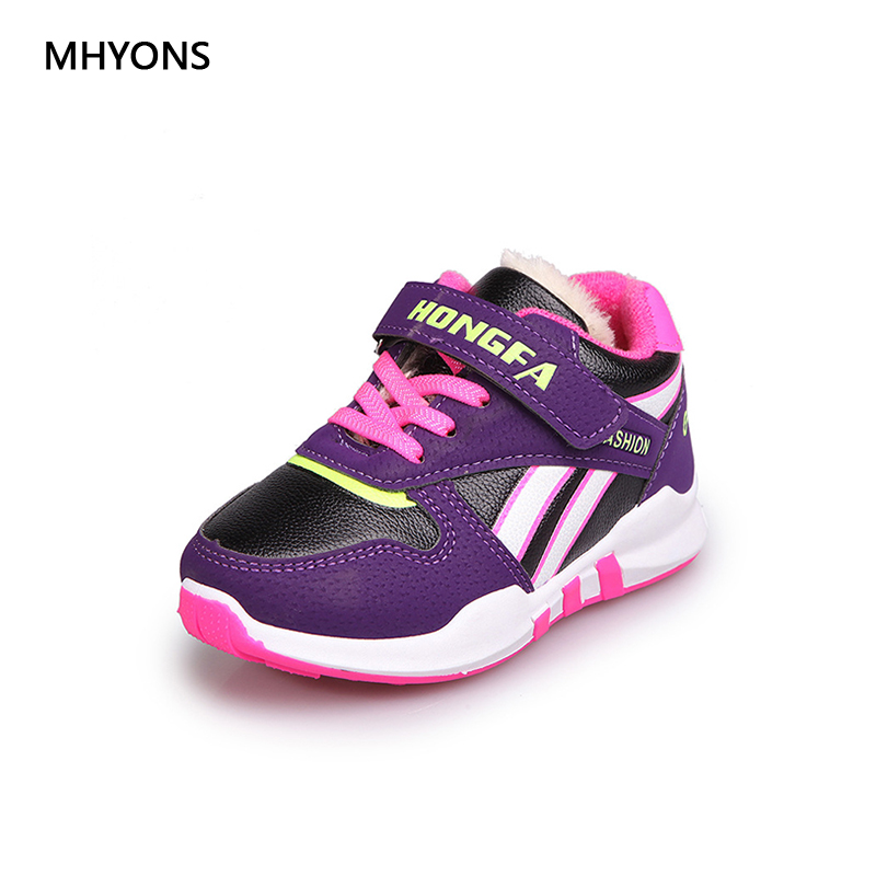 MHYONS Childrens Shoes Boys And Girls Casual Sneakers Plus Velvet Warm Children Breathable Soft Running Shoes School Cool Shoes