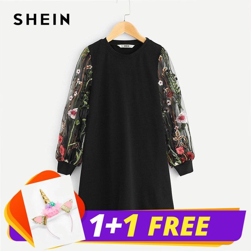 SHEIN Black Girls Mesh Long Embroidered Sleeve Tunic Casual Dress Girls Clothing 2019 Spring Korean Straight Mini Girls Dresses black halter cold shoulder mini dress