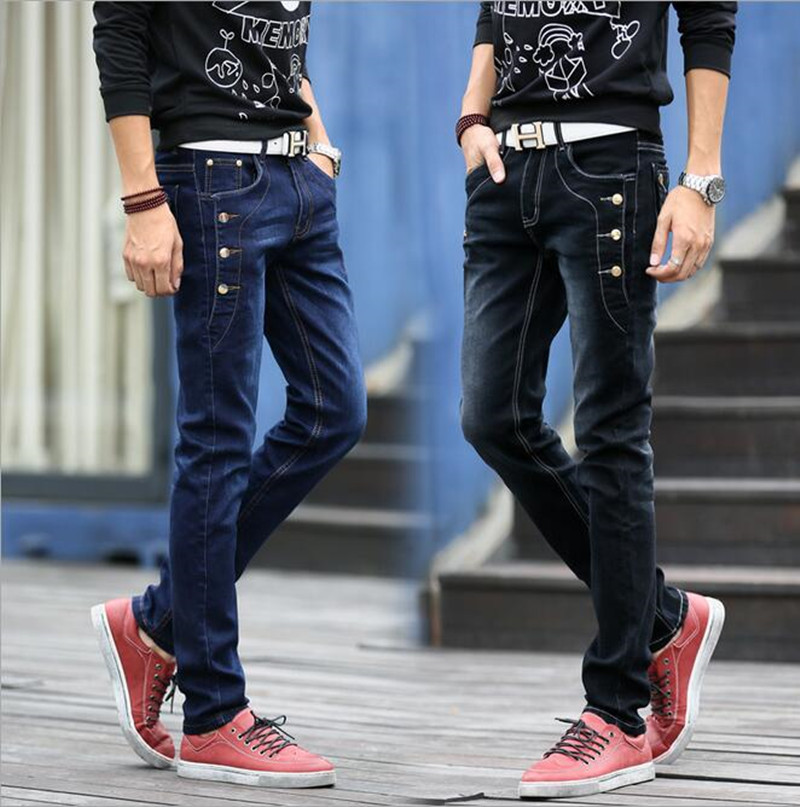ФОТО 2016 Men's Skinny slim fit leisure cotton jeans/Male row buckle decorated pencil pants/ Men's Jean Slim Homme Casual trousers