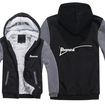 Guitarra marca Ibanez sudaderas con capucha para hombre cremallera abrigo de lana grueso música Fans Hip Hop Ibanez sudadera hombres ropa