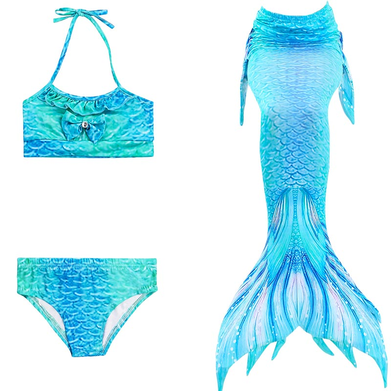 22 Color Girls Ariel Swimmable Mermaid Swimsuit Mermaid Tail For Swimming Children kids Dress Fishtail Swimsuit 3PCS Bikini Set girls mermaid swimsuit princess ariel mermaid tail for swimming children kids princess dress fishtail swimsuit 3pcs bikini set