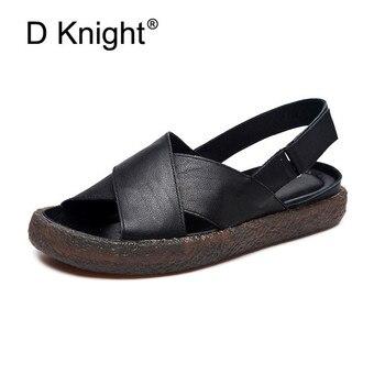 Fashion Women Sandals For 2019 Breathable Comfort Genuine Leather Ladies Walking Shoes Summer Flats Platform Black Sandal Shoes