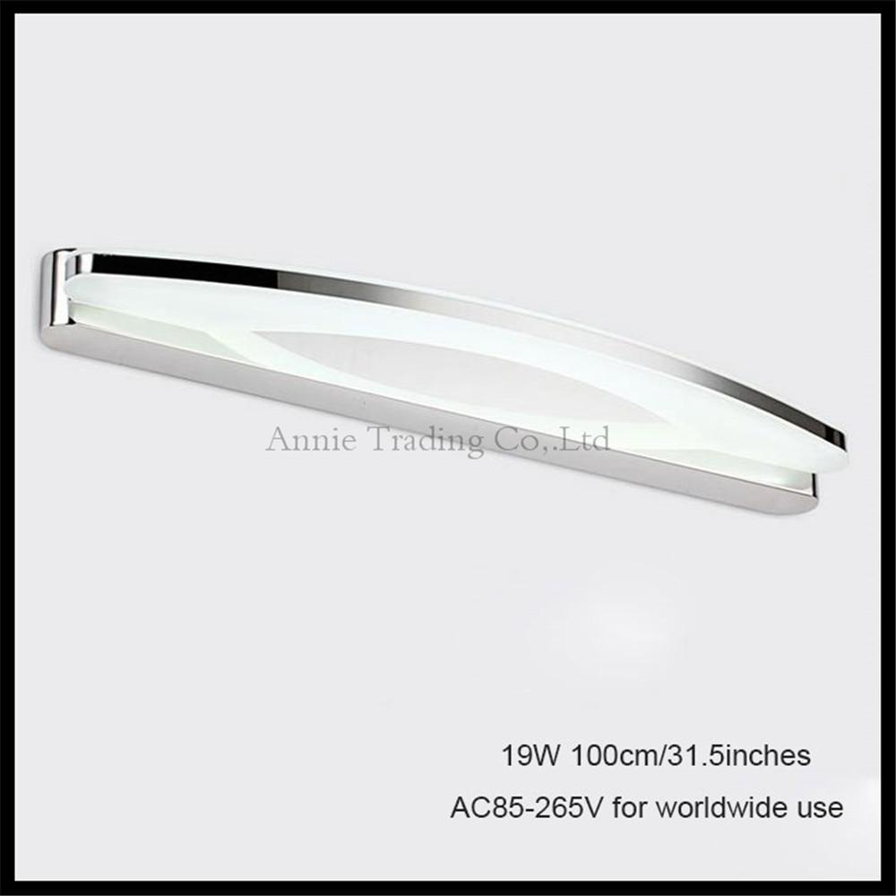 все цены на 90V - 265V L100cm 19W led mirror lights lamp Modern cabinet lights SMDLED Dress mirror bedroom bathroom shop wall sconces light онлайн