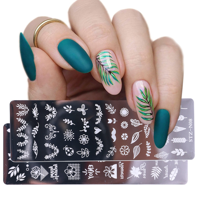 1pcs 12x4cm Nail Stamping Plates Leaf Flowers Butterfly Cat Nail Art Stamp Templates Stencils Design Polish Manicure TRSTZN01-12 1