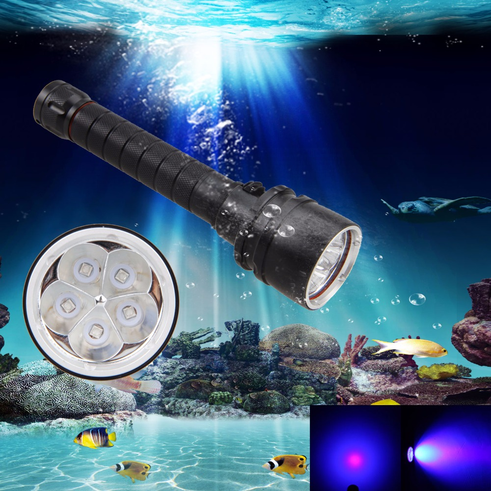 390nm Diving Underwater 100m 30W 5 x UV LED Dive Scuba Flashlight 2x18650 Torch