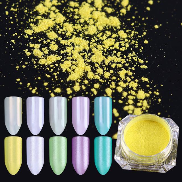 2g Mirror Pearl Nail Glitter Powder Shimmer Yellow Purple Nail Pigment Powder Nail Art Dust Manicure Nail Art Decoration