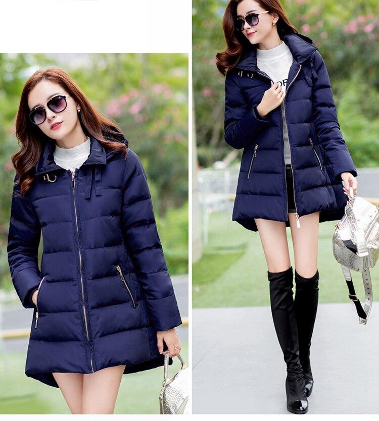 2018 nueva oferta parkas de talla grande con sombrero negro azul marino gris rojo abrigos chaquetas de invierno para mujer - 2