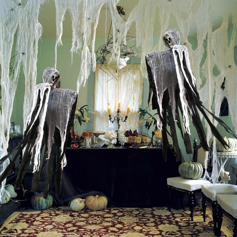 OurWarm Jogo Aranha Horror Adereços Halloween Abóbora Luz Da Corda de Renda tampa de Tabela Tratar Fantasma Truque Halloween Decorações Do Partido