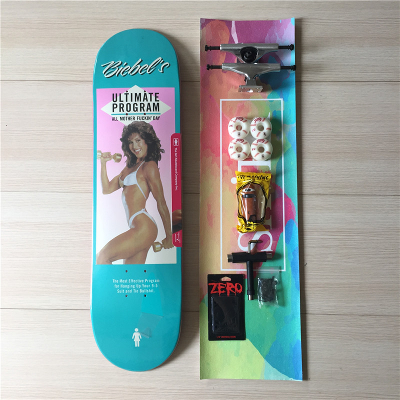 Skate Board Complete Set GIRL Deck Blank Trucks & Girl Wheels Toy Machine Bearings Plus Hardware Set Riser Pad & Installing Tool 2016 new peny board skateboard complete retro girl boy cruiser mini longboard skate fish long board skate wheel pnny board 22