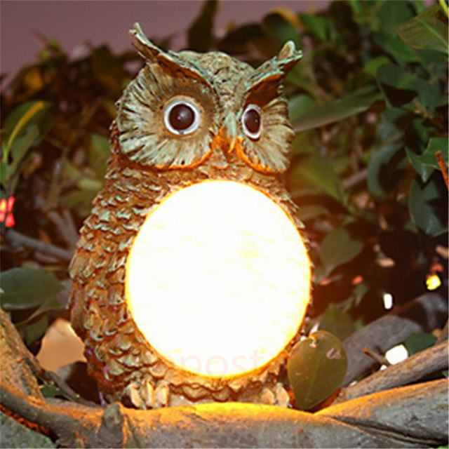 Cute Solar Owl Light Waterproof Outdoor Garden Yard Decorative Bird Lamp Party Club Decor