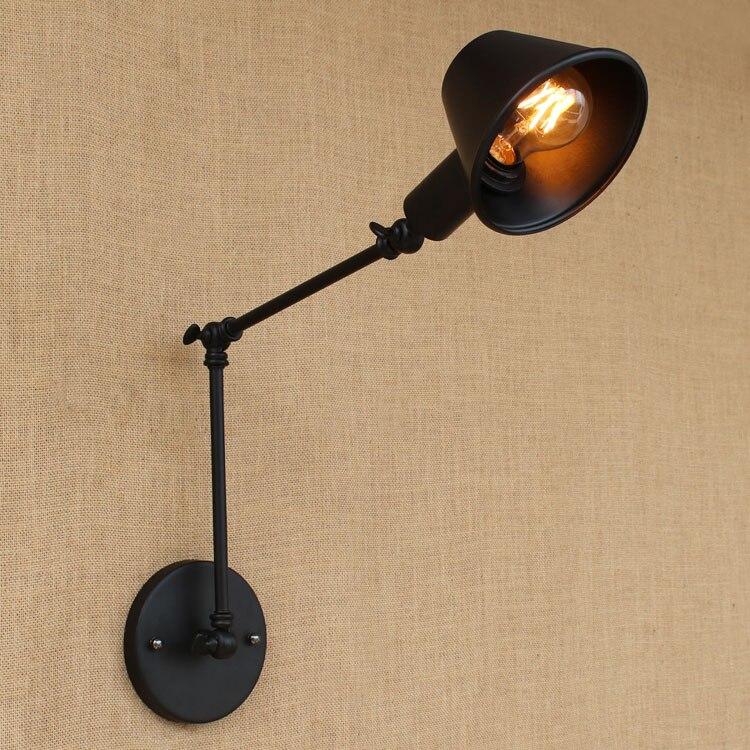 Loft rétro Mat Noir ombre de fer réglable bras oscillant lecture mur lampes  Lumières e27 e26 applique pour atelier chambre bar café 320de7eca3b