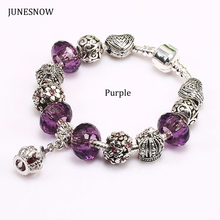 JUNESNOW 2017 New Design Purple Crown Beads fit Original Charm pandora Bracelet With Heart bead for Women Jewelry ZY1501