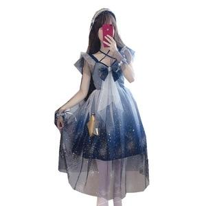 Image 2 - Lolita cielo Stellato Mesh dress Sailor Moon Grande arco Fionda vestito Blu e bianco gradiente di Ragazza Carina