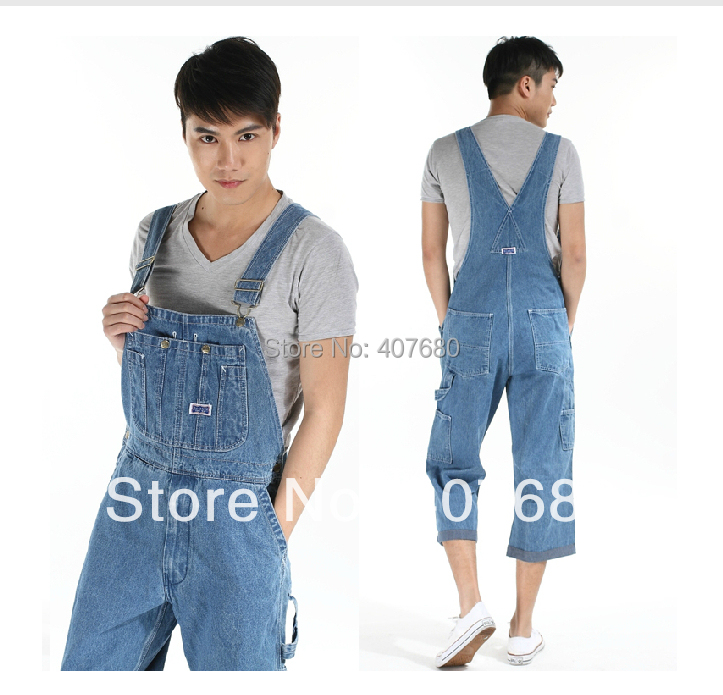 ФОТО Summer Men's Casual Loose Denim jumpsuits overalls bib pants light blue cargo pants plus size gardener capris size 36-42 xxxxl
