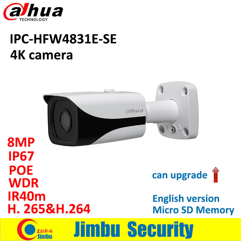 Dahua 4K IP 8MP camera IPC-HFW4831E-SE H.265 WDR IR40m Mini Bullet CCTV Camera IP67 POE Micro SD Memory original English version free shipping dahua cctv camera 4k 8mp wdr ir mini bullet network camera ip67 with poe without logo ipc hfw4831e se
