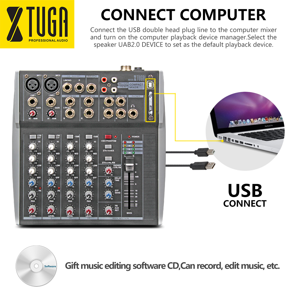Xtuga MX8 Professional Audio Mixer sound console DJ Machine 8 Channels Double 3 Band Graphic EQ