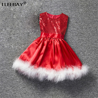 Baby Girls Chrismas Dress Toddler Party Wedding Dress Children Red Sequined Princess Dress Girls Clothes With